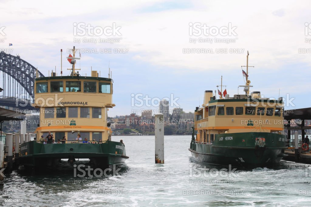 Close-up of two ferries docked at Sydney harbour stock photo
