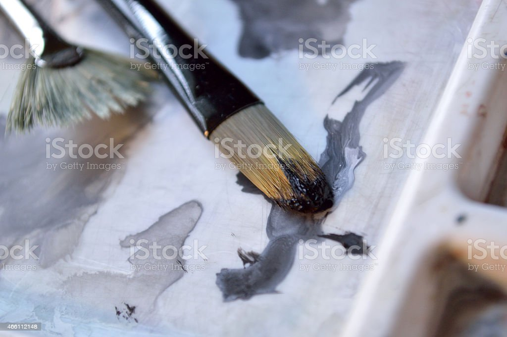 Closeup of two paintbrushes stock photo