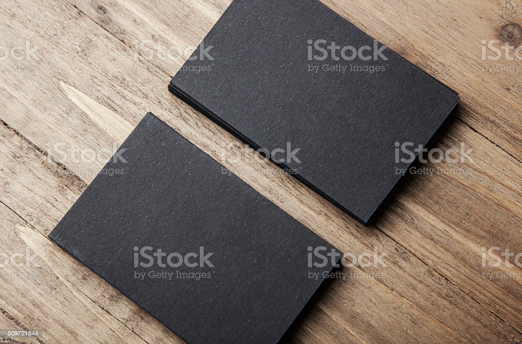 Closeup of two stack Of blank black business cards on stock photo