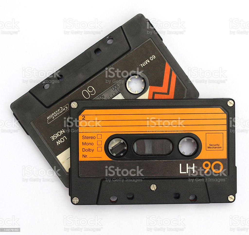 Close-up of two vintage cassettes stock photo