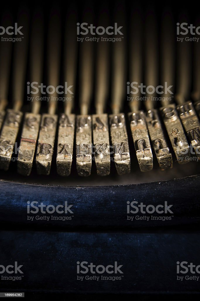 Closeup of Type Bars on 1930's Manual Typewriter royalty-free stock photo