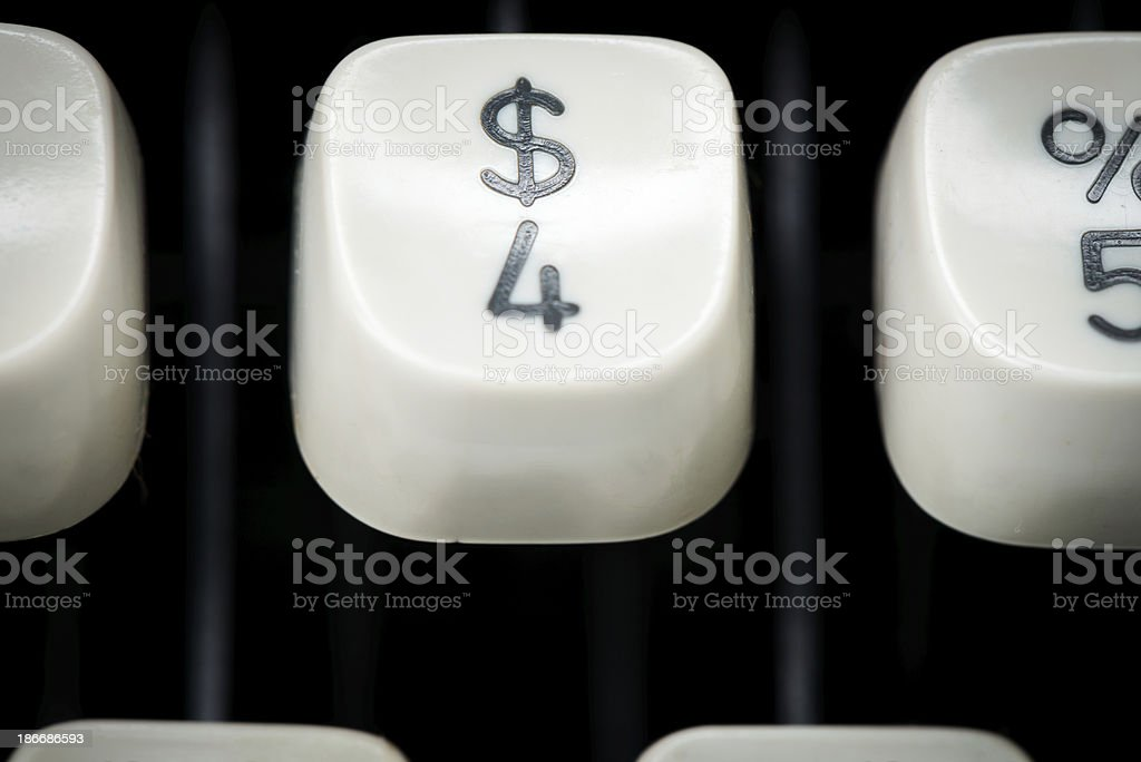 Closeup of Typewriter Keys royalty-free stock photo