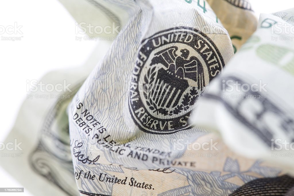 Closeup of United States Federal Reserve on Crumpled $20 Bill stock photo