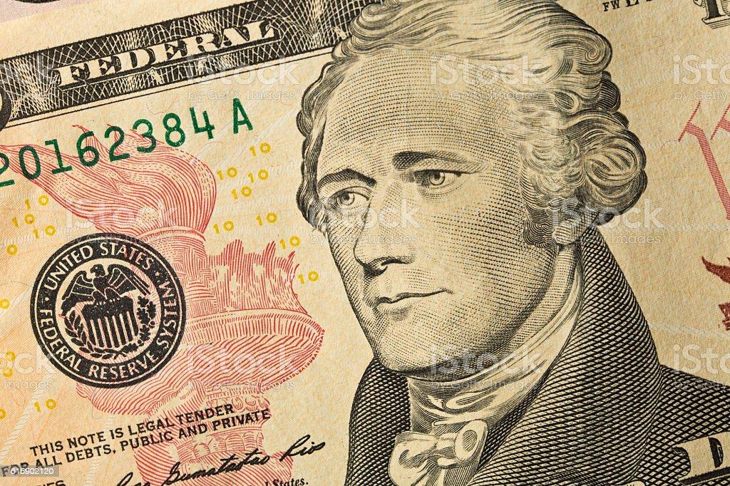 Close-up of U.S. Ten Dollar bill with Alexander Hamilton stock photo