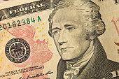 Close-up of U.S. Ten Dollar bill with Alexander Hamilton