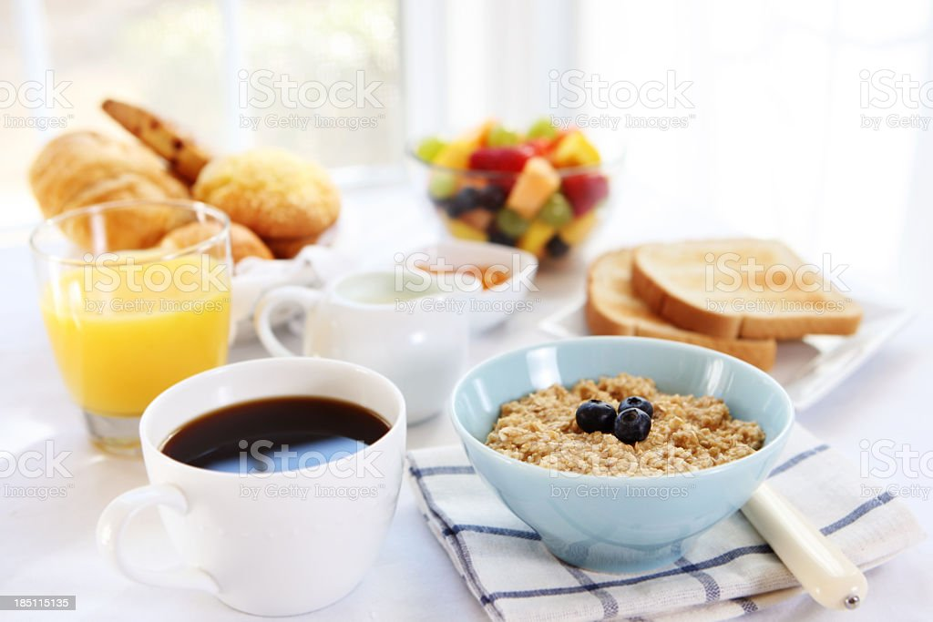 Close-up of variety of breakfast selections stock photo