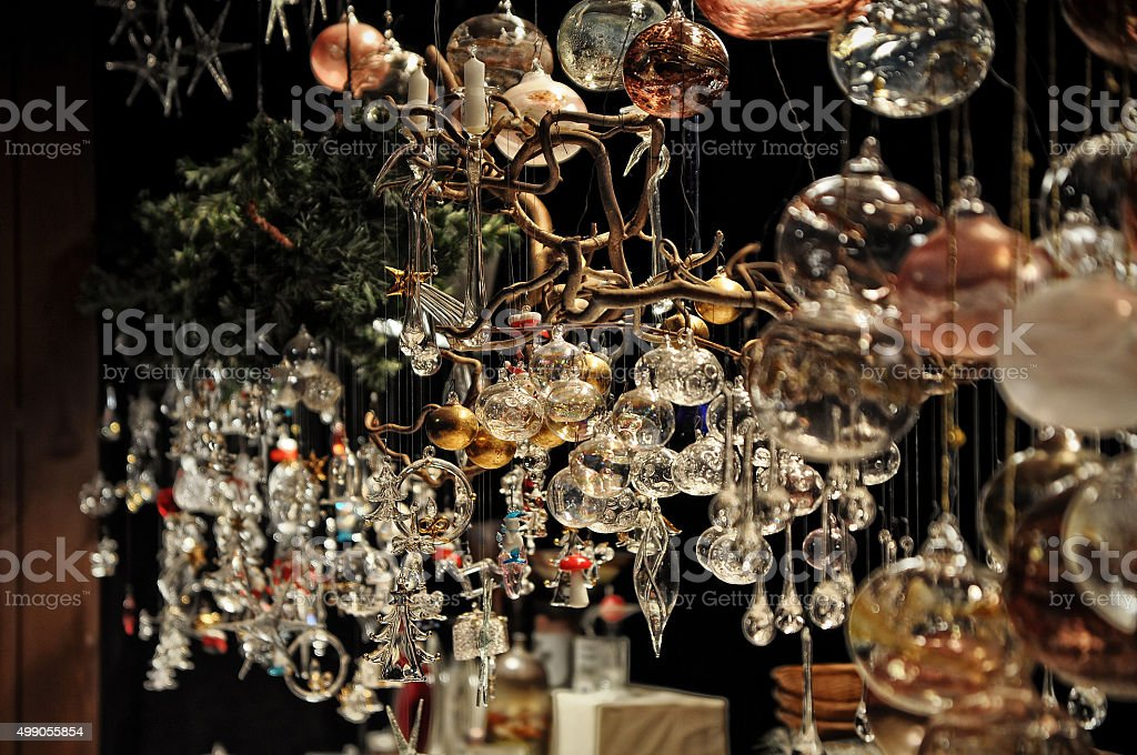 Close-up of variety of Christmas decorations in Cologne, Germany stock photo
