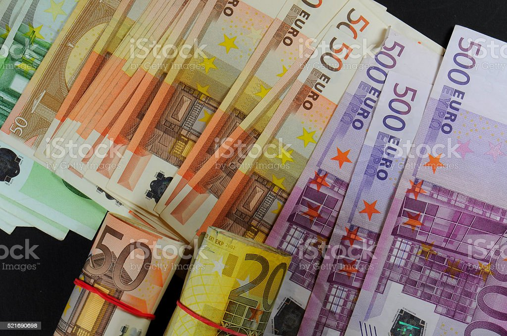 Close-up of various euro banknotes. Selective focus. stock photo