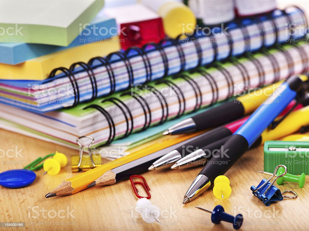 Close-up of various office supplies stock photo