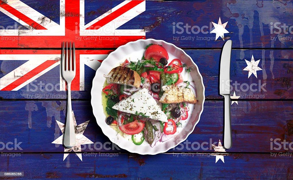 Closeup of vegetable salad on Flag of Australia stock photo