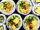 Close-up of vegetarian sushi