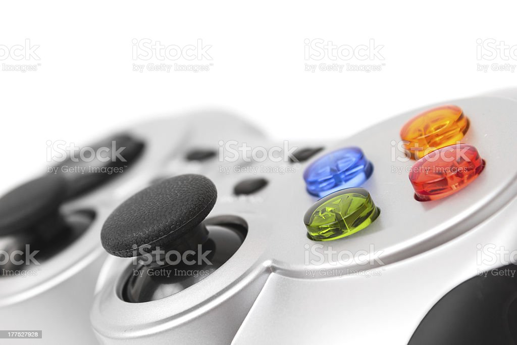 Close-up of video gamepad with colorful control buttons royalty-free stock photo