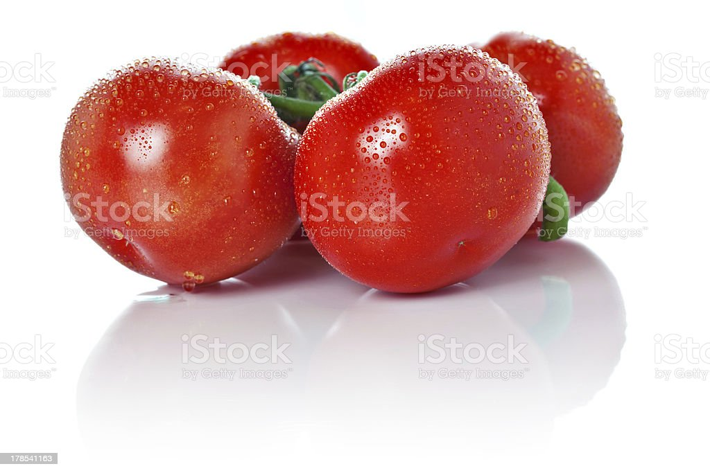 Closeup of vine tomatoes isolated on white royalty-free stock photo