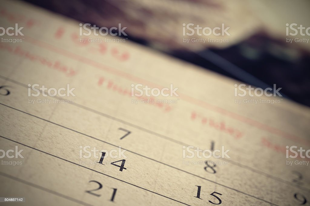 Close-up of vintage calendar stock photo