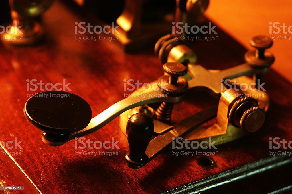Close-up of vintage metal Morse Code Transmitter stock photo