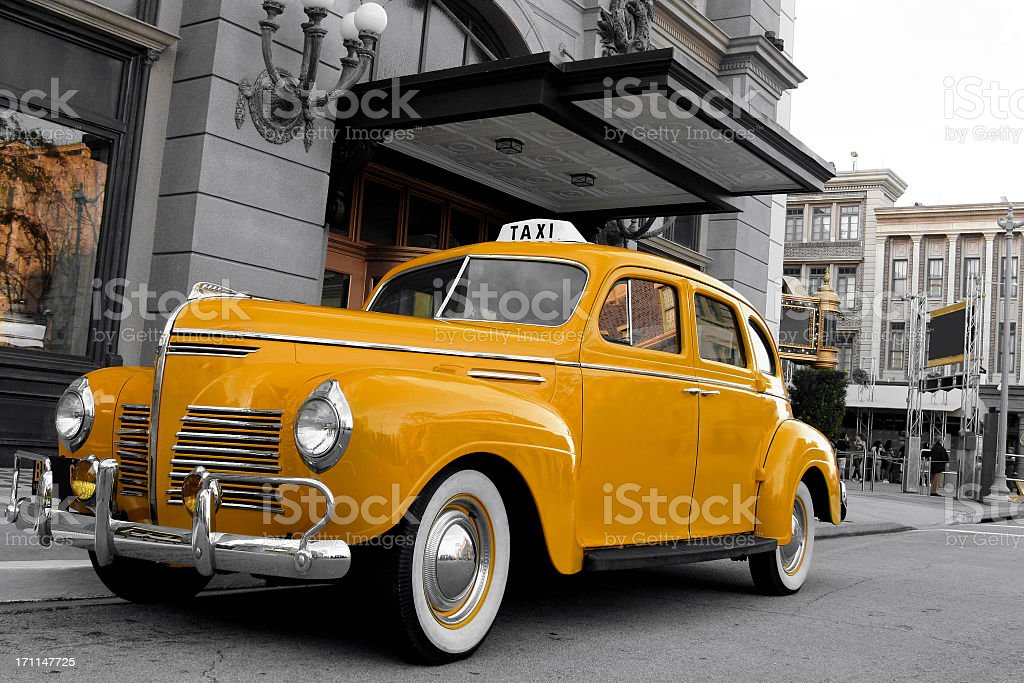 Close-up of vintage New York cab stock photo