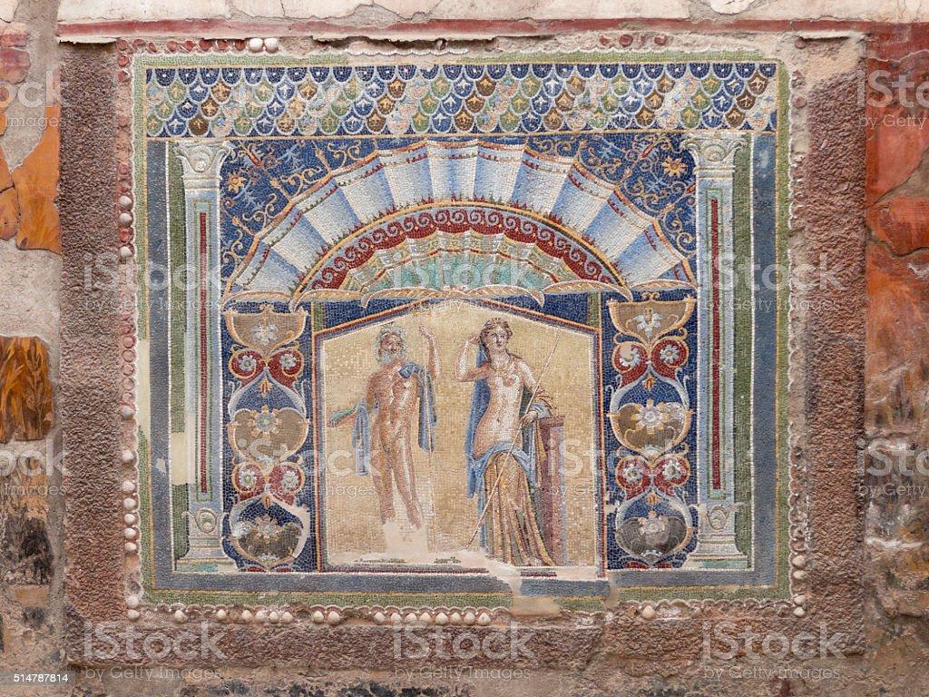 Closeup of wall mosaic in Herculaneum stock photo