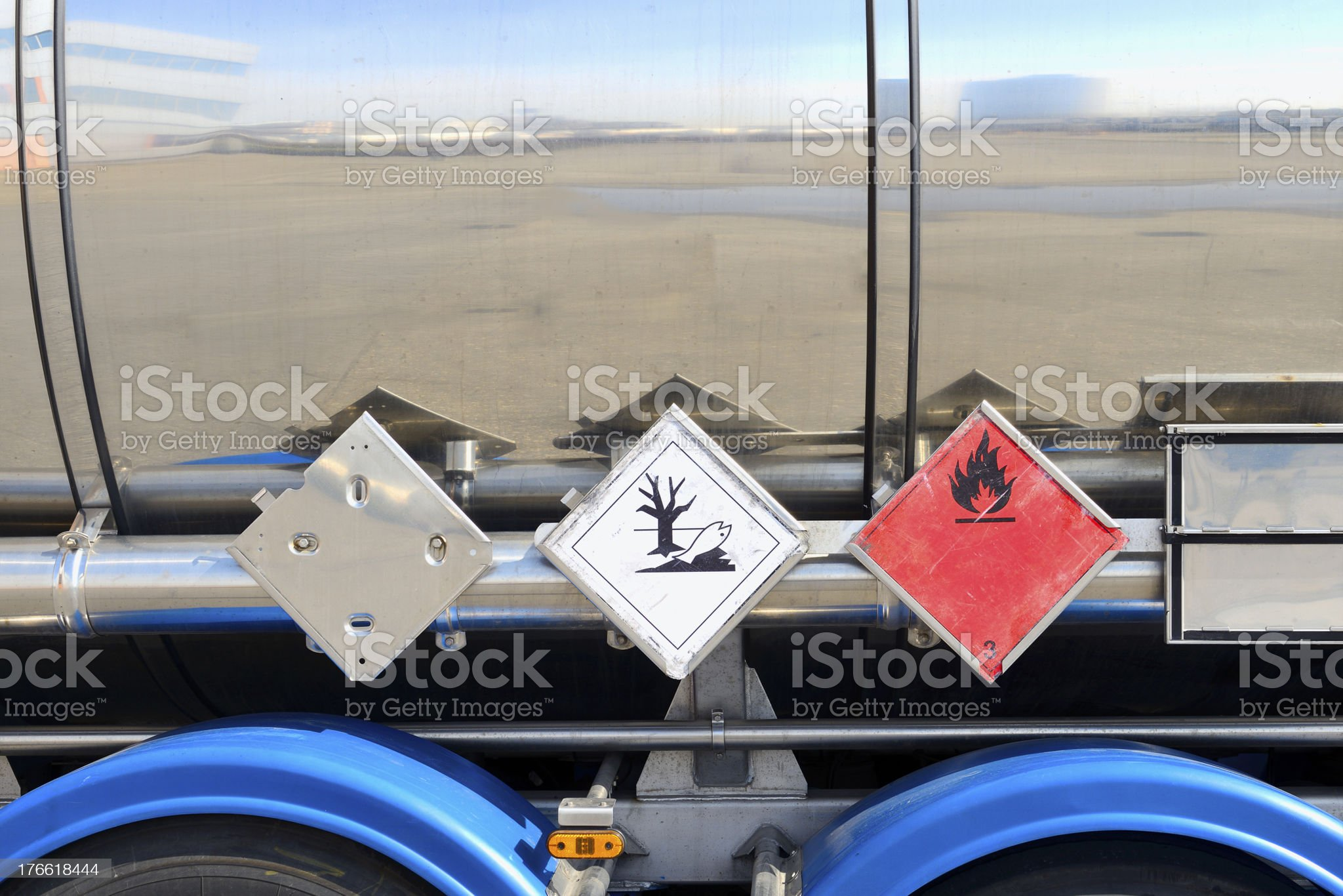 Close-up of warning signs on the side of silver fuel tanker royalty-free stock photo