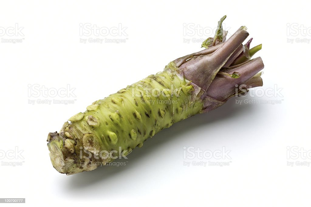 Close-up of wasabi on white background stock photo