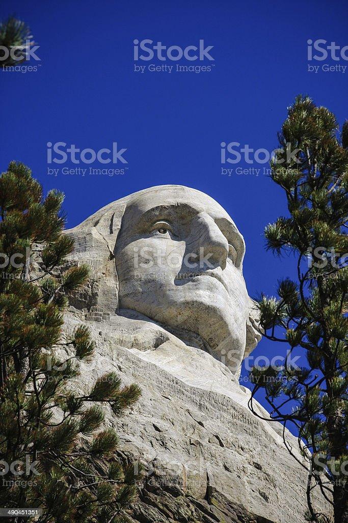 Closeup of Washington at Mount Rushmore in South Dakota royalty-free stock photo