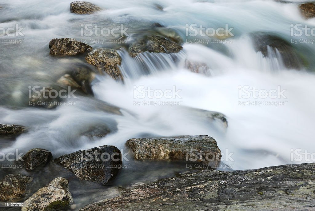 Close-up of waterfall at long shutter speed. stock photo