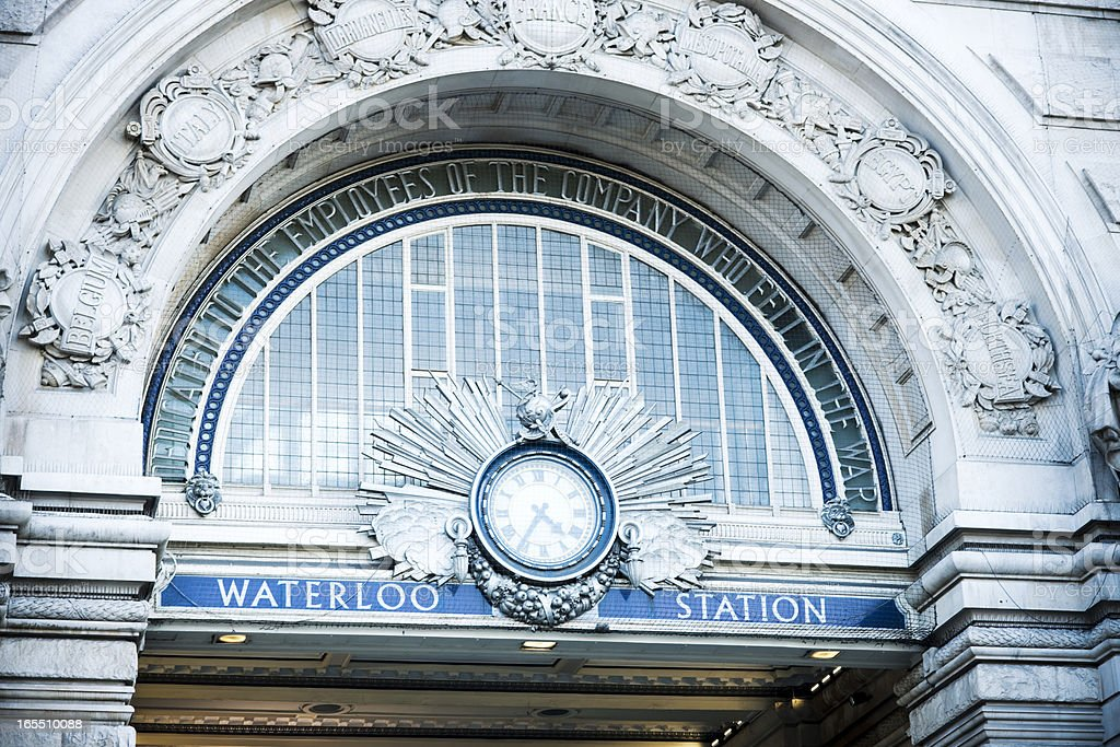 Close-up of Waterloo Station building facade, London stock photo