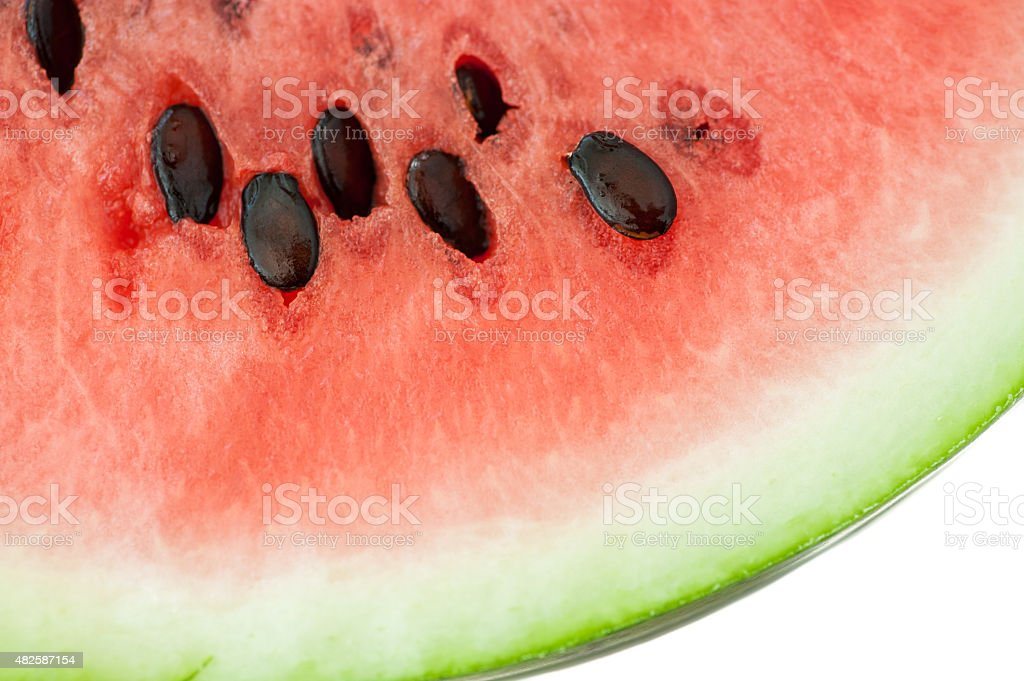 Closeup of watermelon with sids in it stock photo