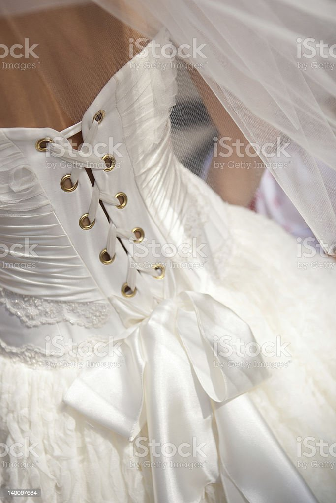 Gros plan de robe de mariée photo libre de droits