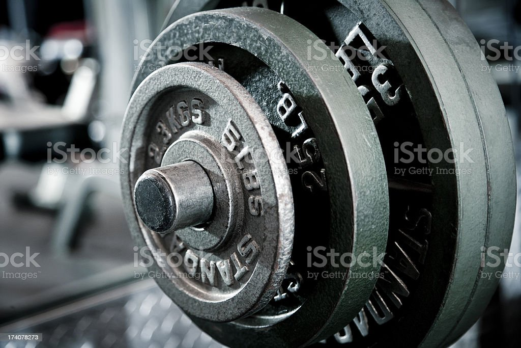 closeup of weights- incline bench press stock photo