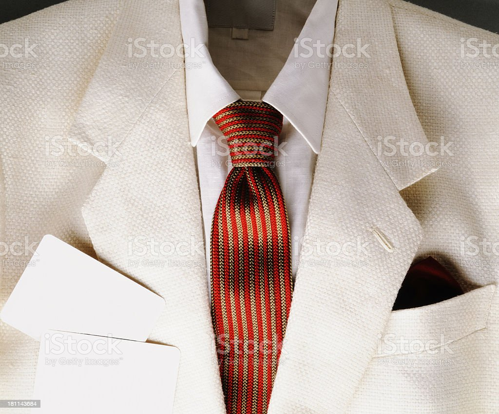 Close-up of white jacket with blank card royalty-free stock photo