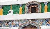 closeup of white pagoda at Kumbum Monastery.Tibetan Buddhist monastery
