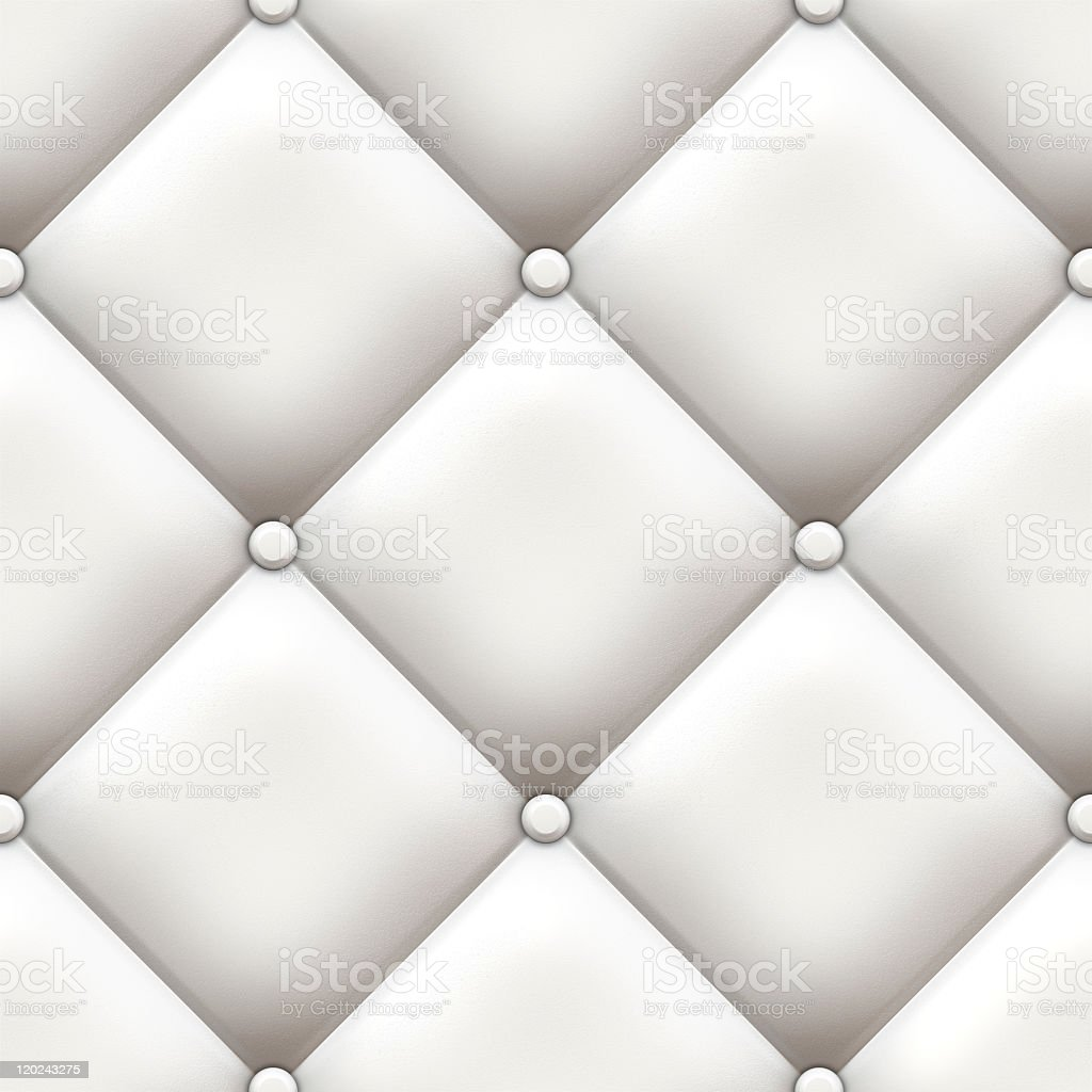 Close-up of white upholstery with sewn pattern royalty-free stock photo