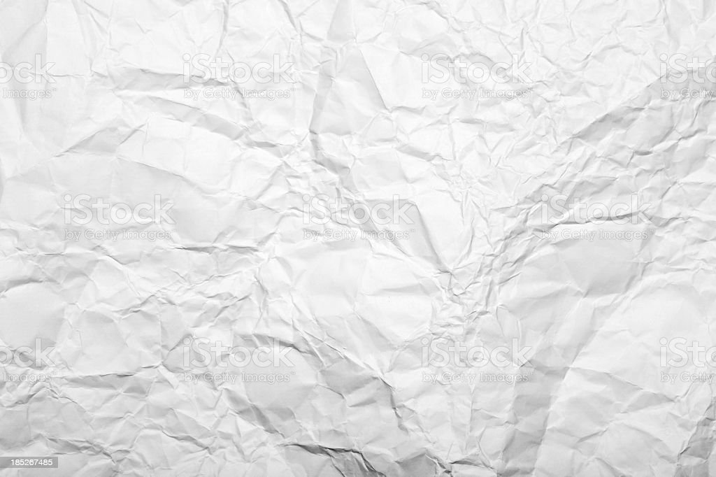 Close-up of white wrinkled paper stock photo