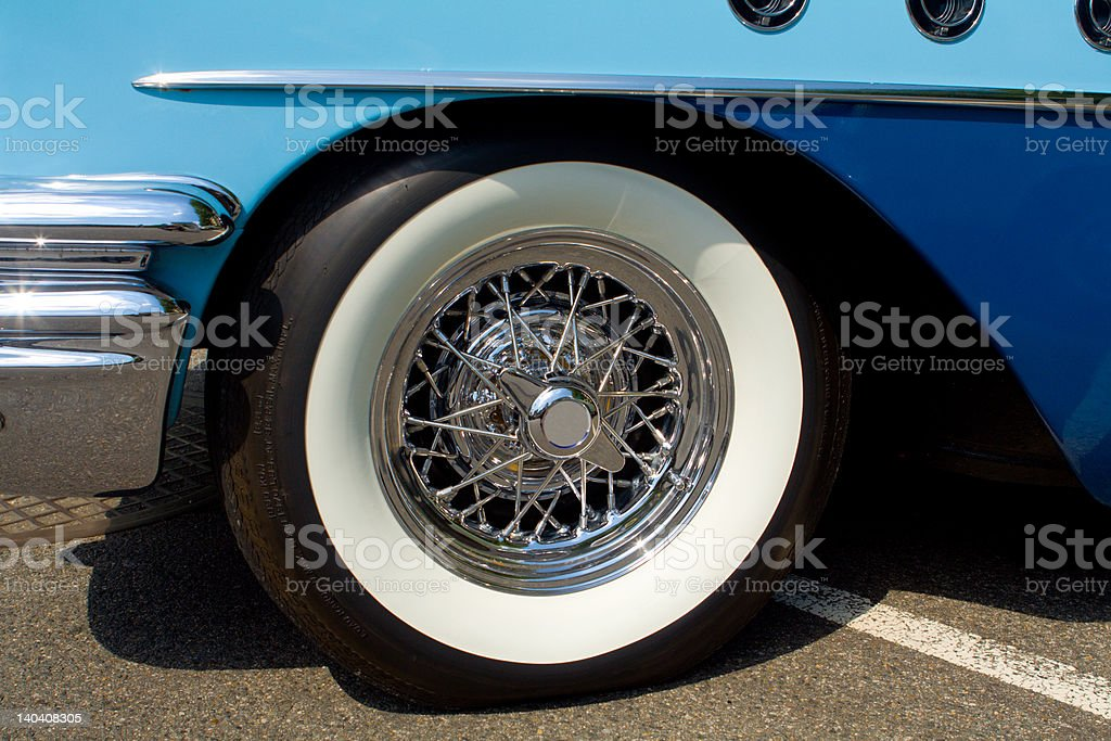 Closeup of Whitewall Tire on Vintage Buick Car Automobile royalty-free stock photo