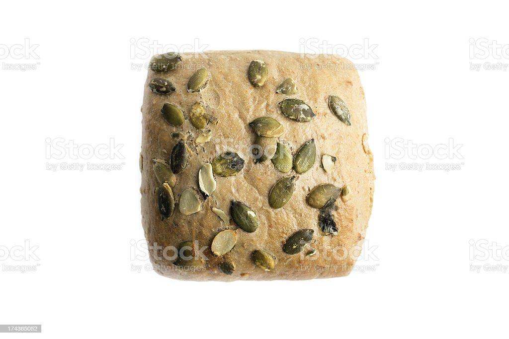 Closeup of whole grain bread on white royalty-free stock photo