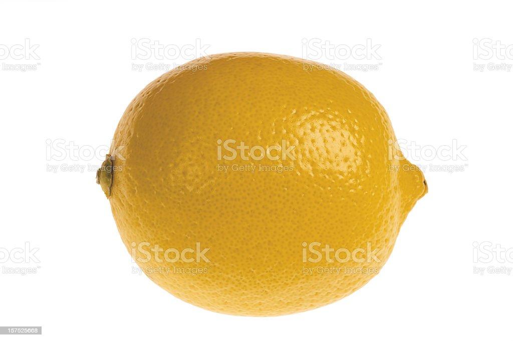 Closeup of whole lemon on white background stock photo