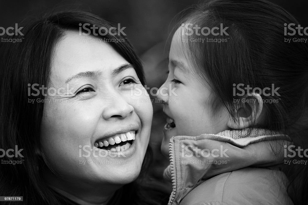 Close-up of woman and child laughing royalty-free stock photo