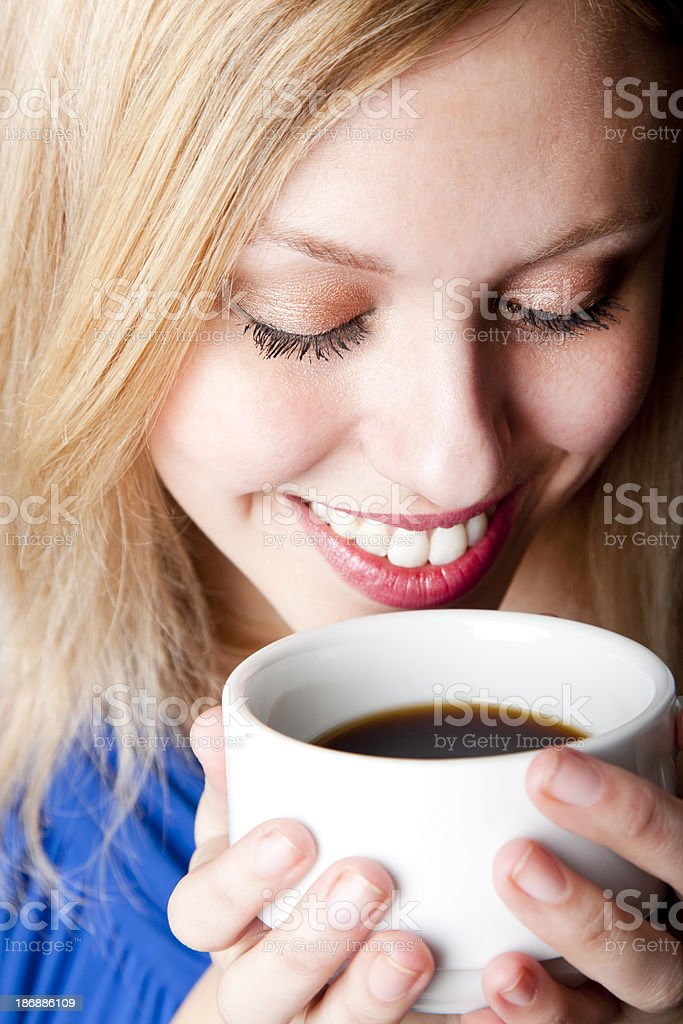 close-up of woman drinking coffee royalty-free stock photo