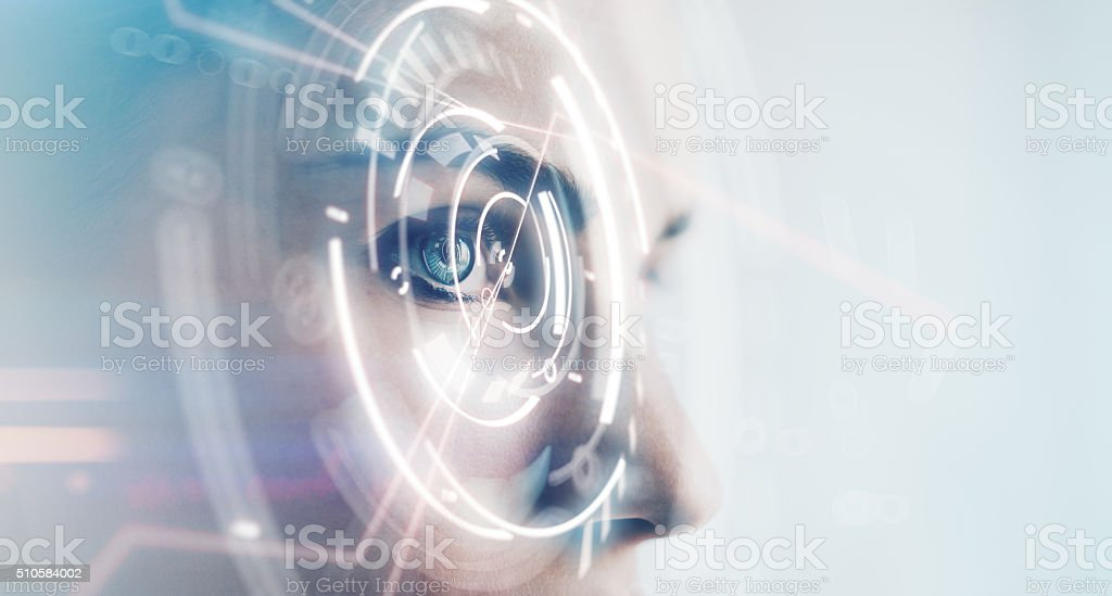 Closeup of woman eye with visual effects, isolated on white stock photo