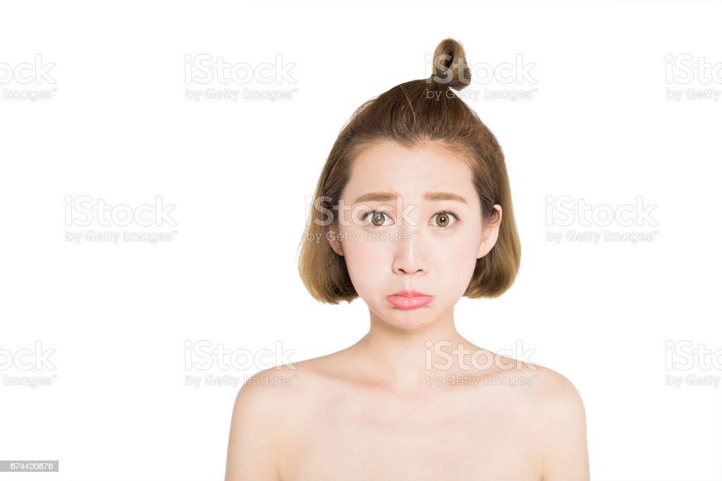 closeup of woman facial expression stock photo
