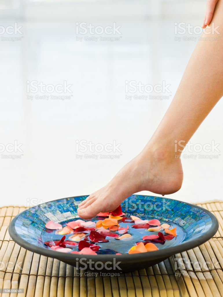 Closeup of woman feet receiving aromatherapy at a spa royalty-free stock photo