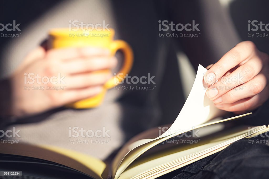 Close-up of woman hands holding open book. Reading. stock photo