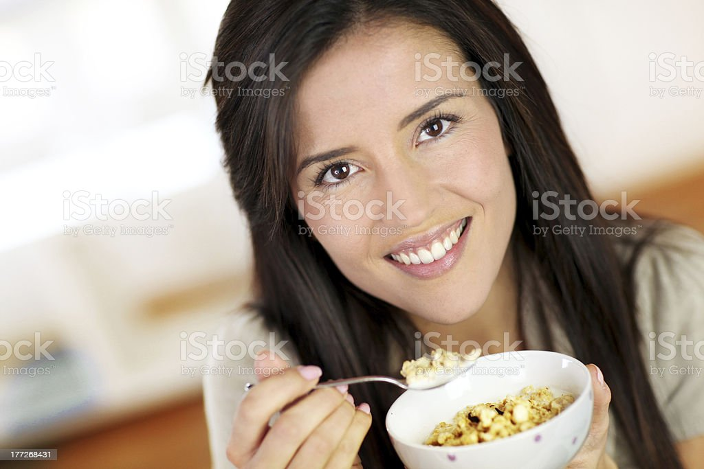 Closeup of woman having breakfast royalty-free stock photo