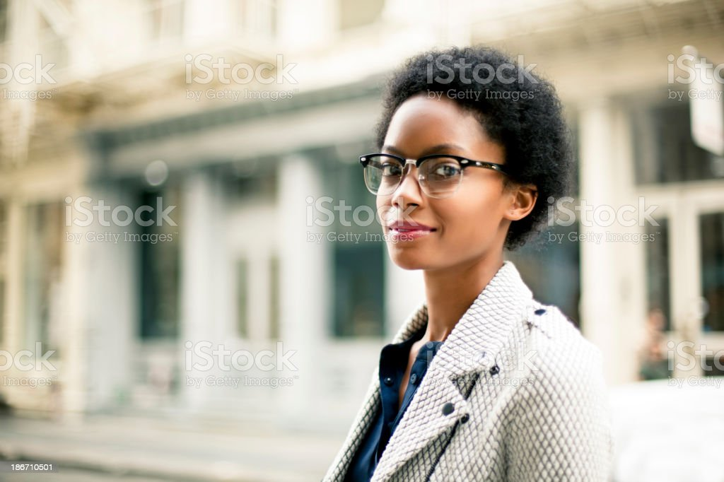 Closeup of woman in New York royalty-free stock photo