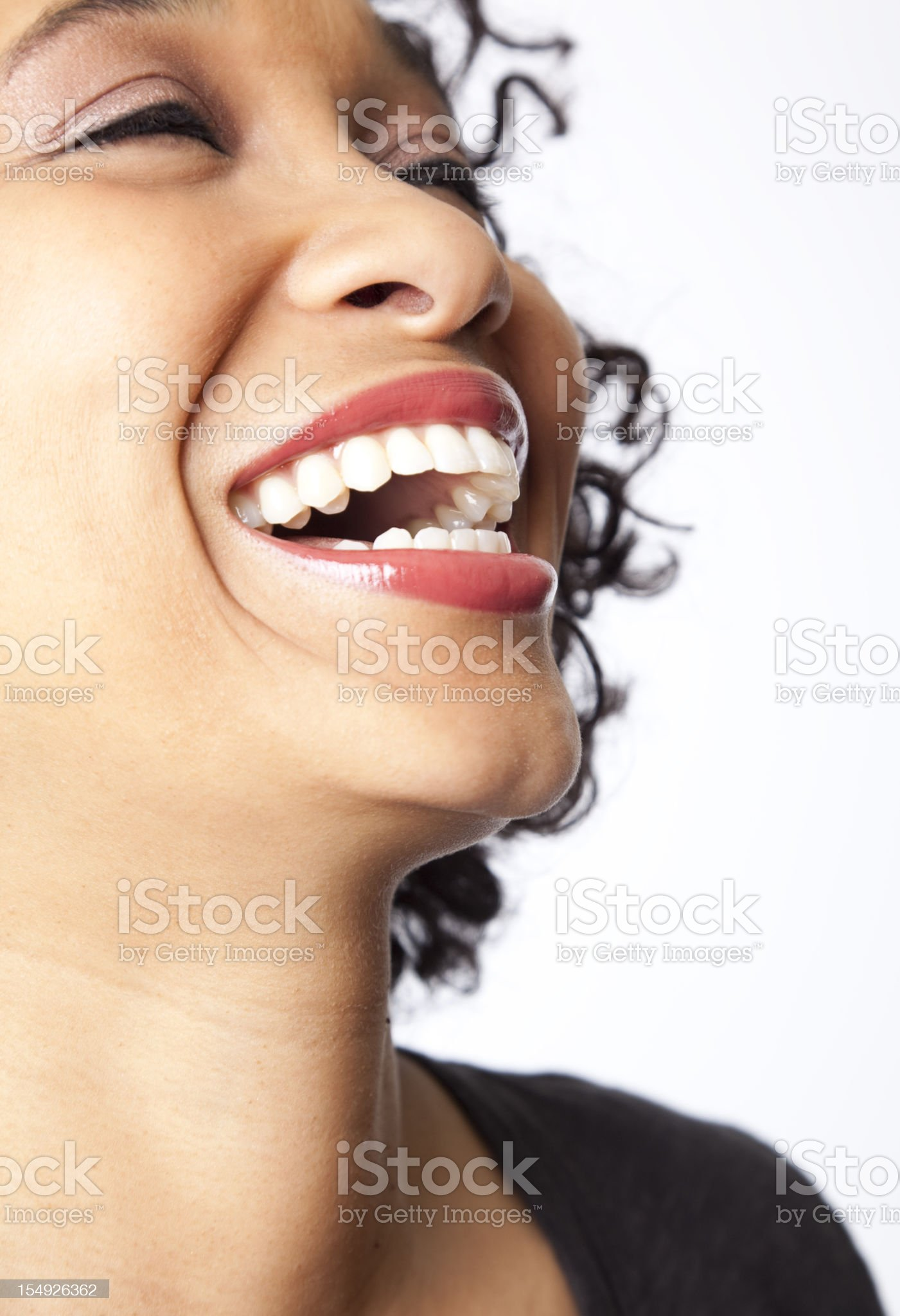close-up of woman laughing royalty-free stock photo