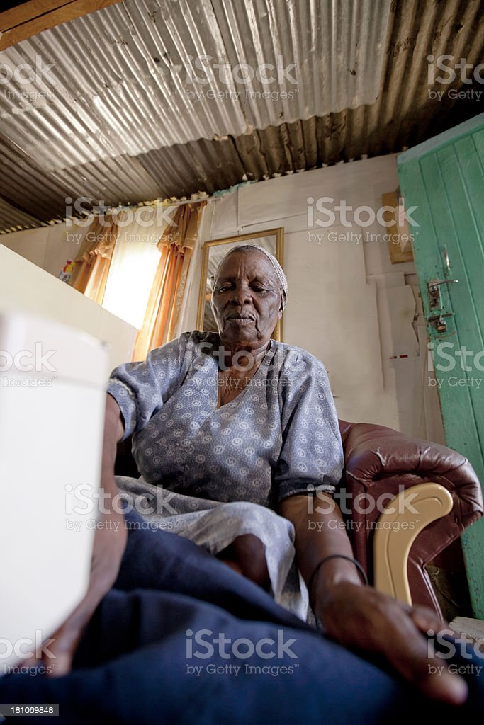 Close-up of Woman Sewing, Gugulethu, Cape Town, South Africa. royalty-free stock photo