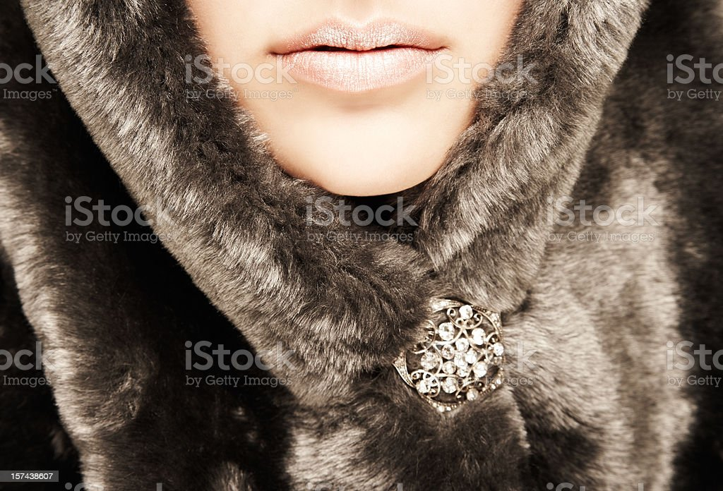 Close-up of Woman Wearing Fur Hood stock photo