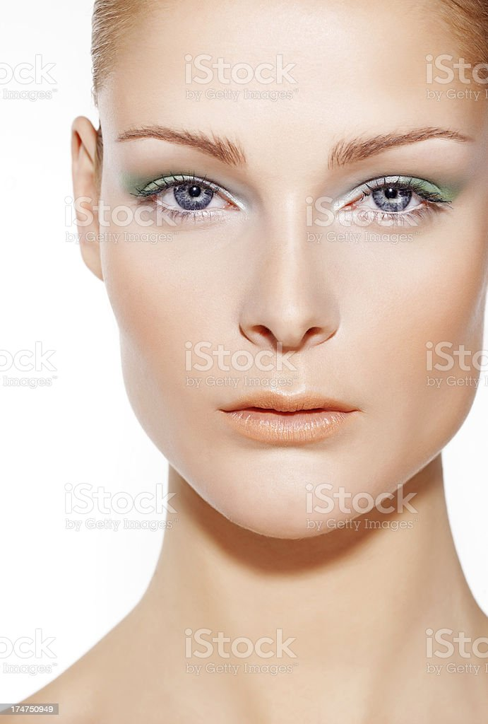 close-up of woman with green make-up royalty-free stock photo