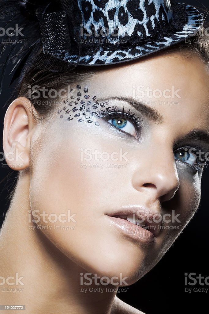 close-up of woman with spotted make-up royalty-free stock photo