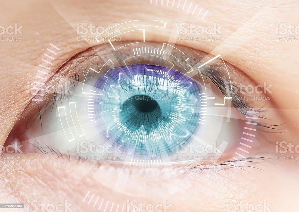 Close-up of woman's blue eye. High Technologies in the futuristi stock photo